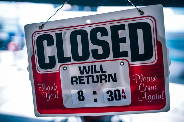 お店が閉店しているサイン